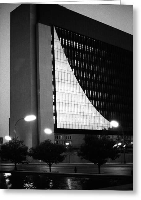 Greeting Card featuring the photograph Federal Reserve Building At Twilight by Mike Evangelist