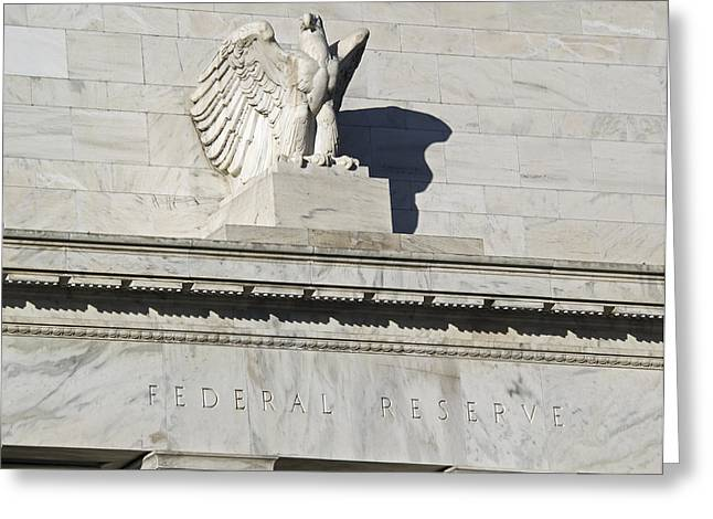 Federal Reserve Eagle Detail Washington Dc Greeting Card by Brendan Reals
