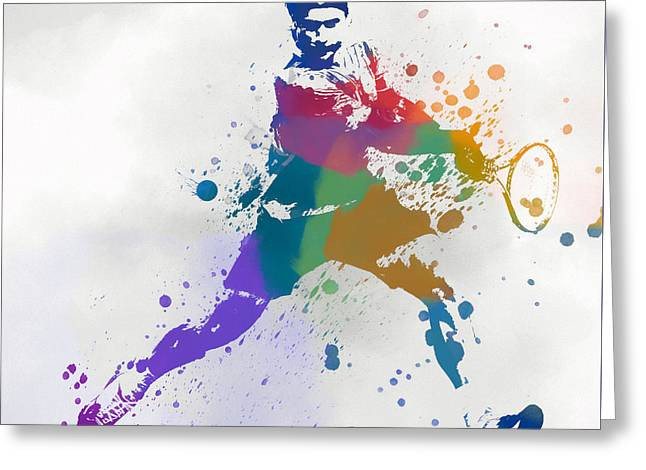 Federer Paint Splatter Greeting Card by Dan Sproul
