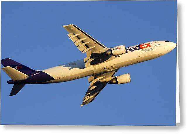 Fedex Airbus A300f4 605r N692fe Phoenix Sky Harbor December 23 2010 Greeting Card