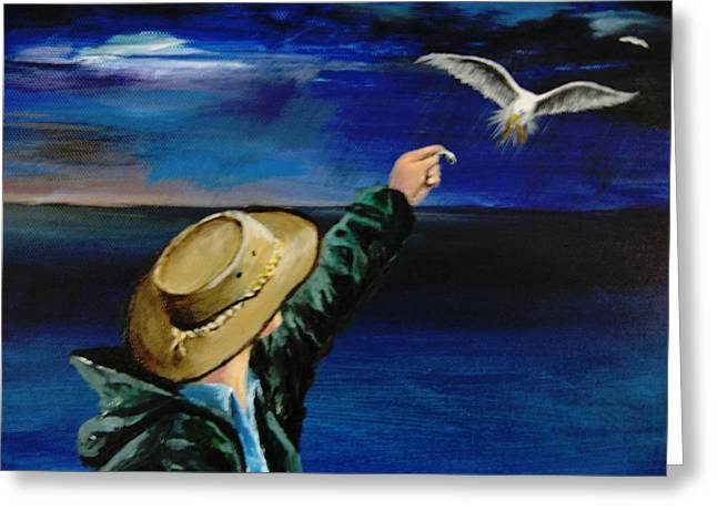 Feeding My Gull Friend Greeting Card by Larry Whitler