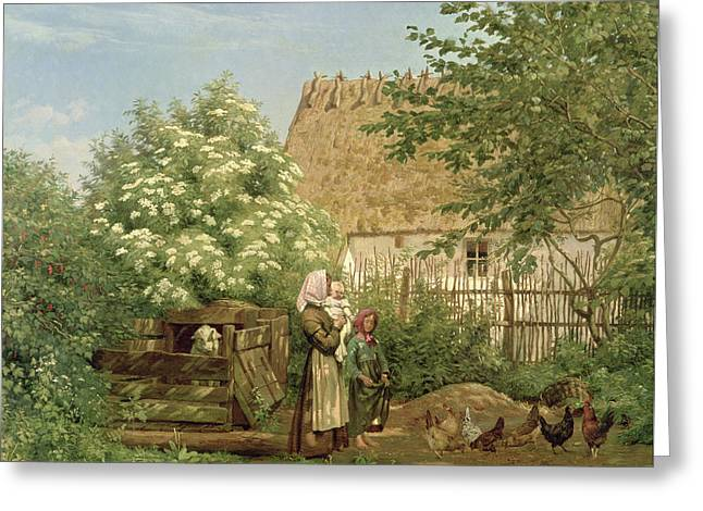Feeding The Chickens Greeting Card by Frederick Christian Lund