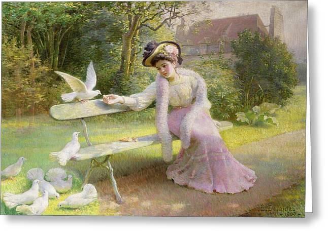 Feeding The Doves  Greeting Card by Edmond Alphonse Defonte