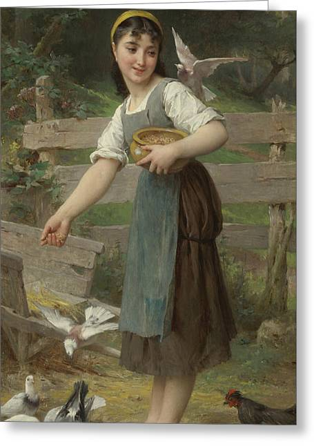 Feeding The Doves Greeting Card by Emile Munier