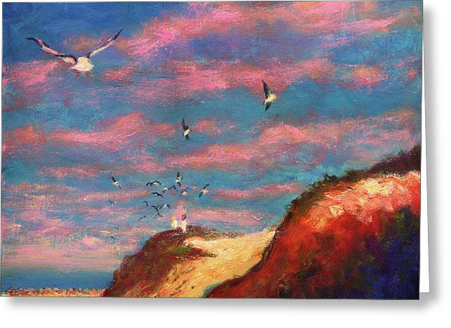 Feeding The Gulls Near The Gulf Greeting Card