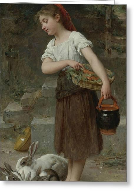 Feeding The Rabbits Greeting Card by Emile Munier