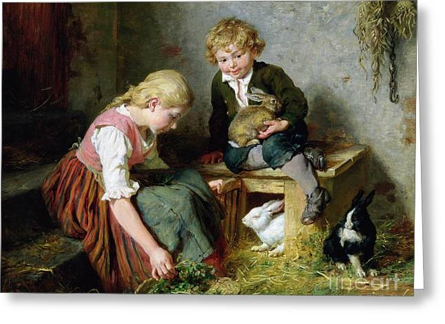 Youth Paintings Greeting Cards - Feeding the Rabbits Greeting Card by Felix Schlesinger