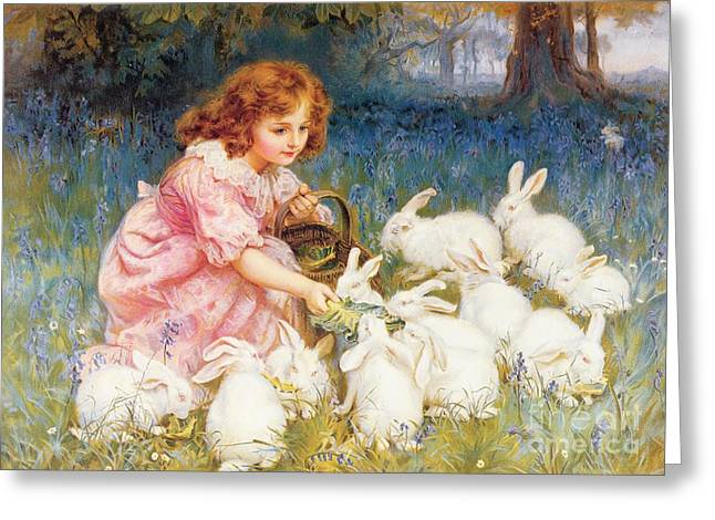 Leaves Paintings Greeting Cards - Feeding the Rabbits Greeting Card by Frederick Morgan
