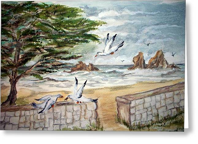 Greeting Card featuring the painting Feeding Time by Carol Grimes