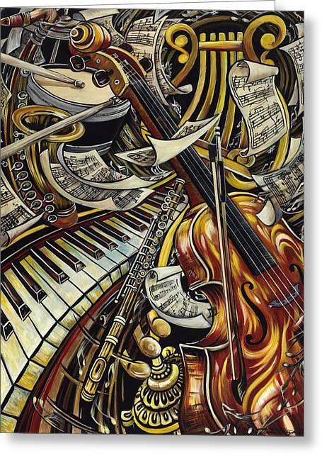 Rhythmic Greeting Cards - Feel the Music Greeting Card by Dana Diaz de Leon