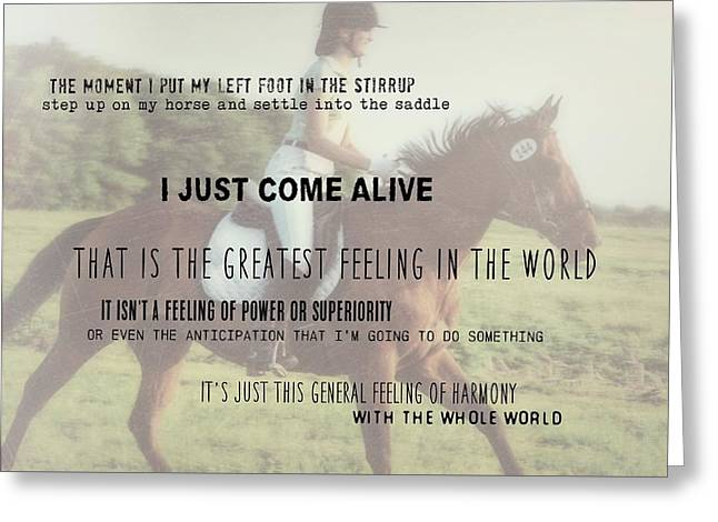 Greeting Card featuring the photograph Feeling Harmony Quote by Dressage Design