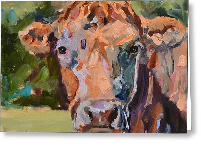 Feeling Peachy Cow Painting Greeting Card