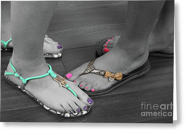 Feet And Sandals Greeting Card by Colin Cuthbert