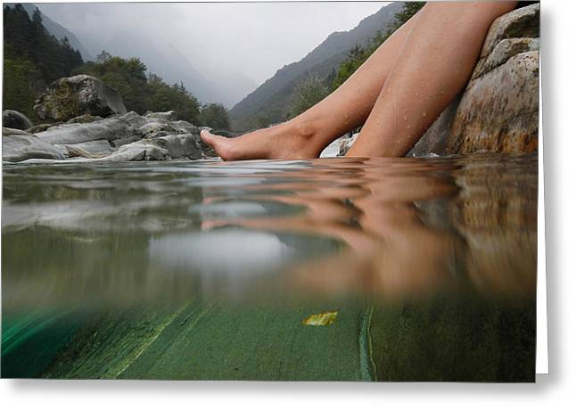 Best Sellers -  - Swiss Photographs Greeting Cards - Feet on the water Greeting Card by Mats Silvan