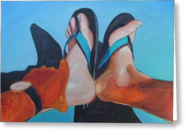 Feet Sunning Greeting Card