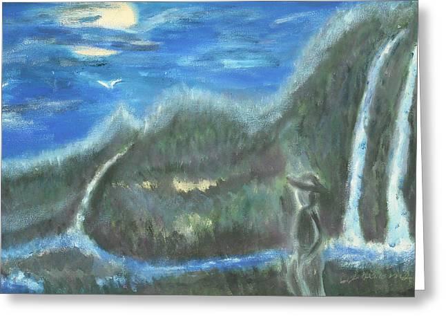 Feline Water Falls Greeting Card by BJ Abrams