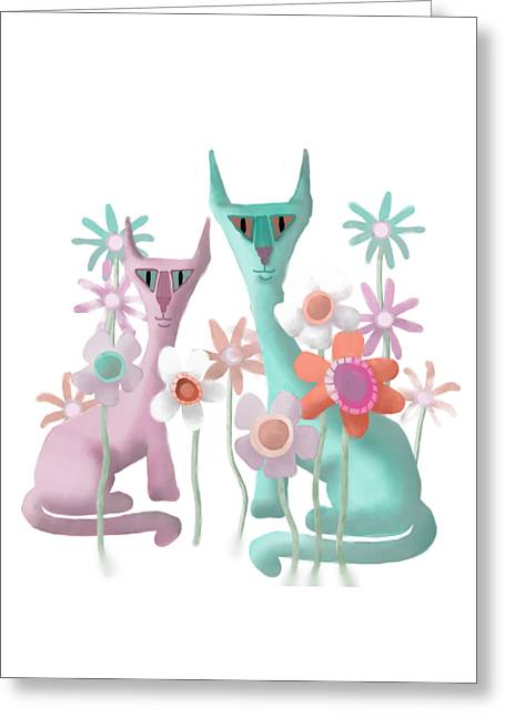Felines In Flowers Greeting Card