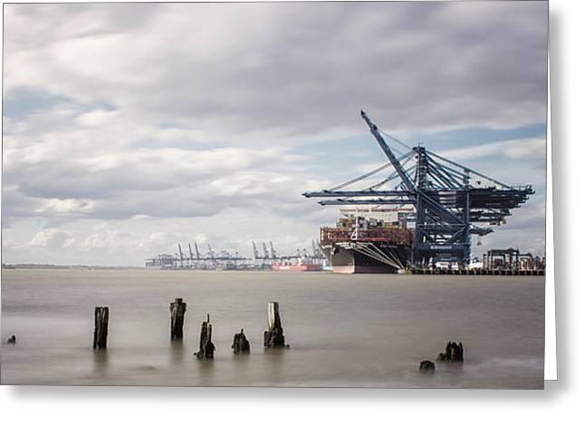 Felixstowe Docks Greeting Card by Martin Newman