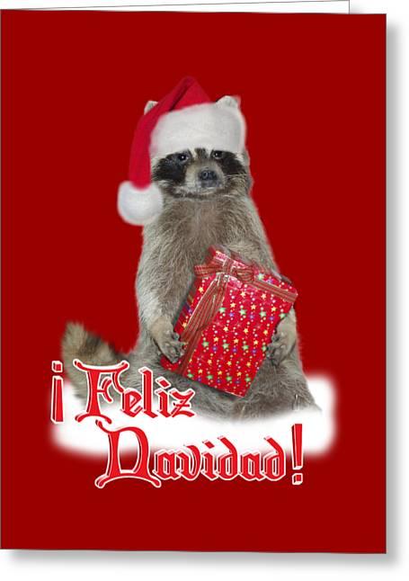 Feliz Navidad - Raccoon Greeting Card