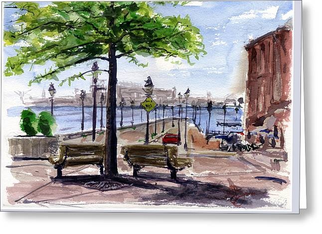 Fell Point In Baltimore Maryland Greeting Card by John D Benson