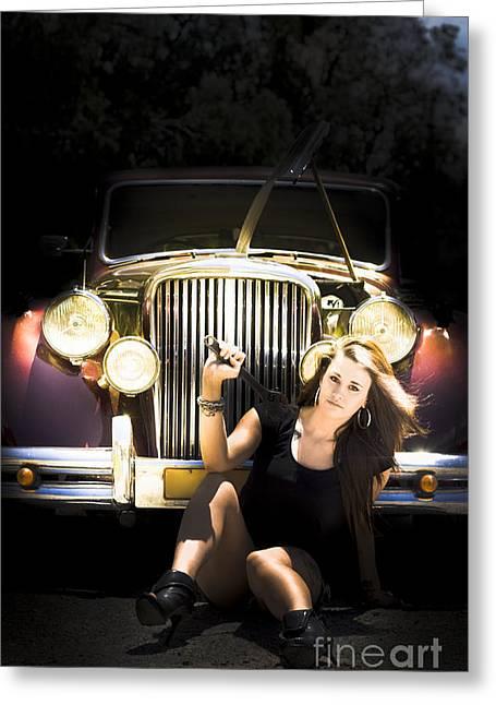 Female Auto Mechanic Greeting Card by Jorgo Photography - Wall Art Gallery