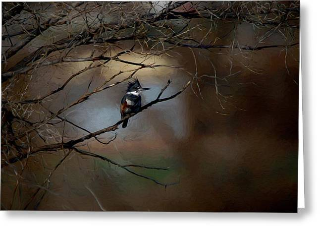 Greeting Card featuring the digital art Female Belted Kingfisher 3 by Ernie Echols