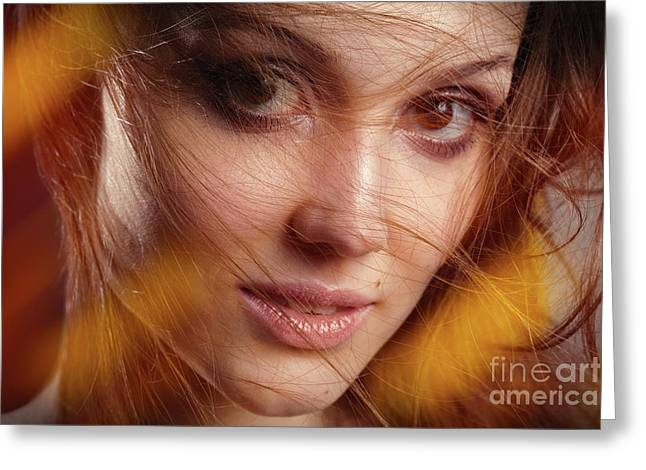 Female Blow Hair Greeting Card by Aleksey Tugolukov