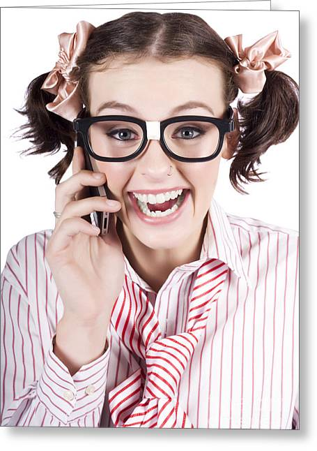 Female Business Person Selling On Smart Phone Greeting Card by Jorgo Photography - Wall Art Gallery