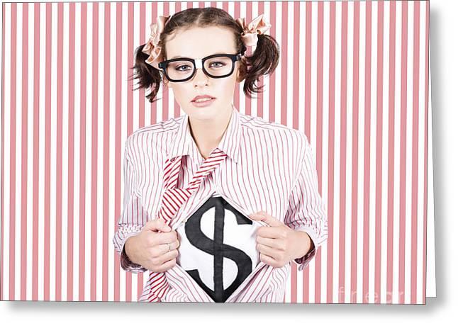 Female Business Superhero Showing Dollar Sign Greeting Card