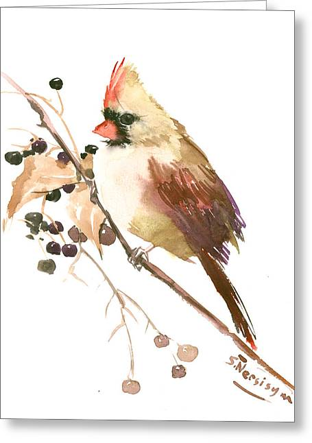 Female Cardinal Bird Greeting Card