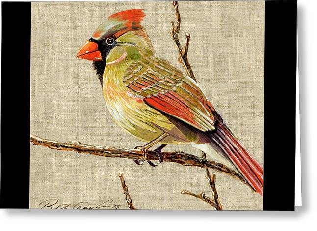 Greeting Card featuring the painting Female Cardinal by Bob Coonts