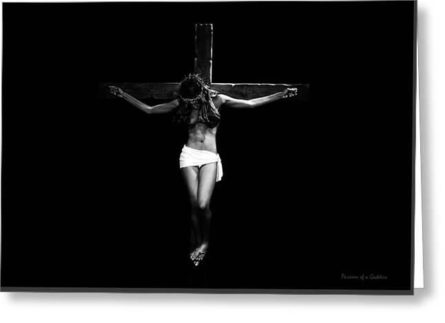 Female Crucifix Black In Dark I Greeting Card