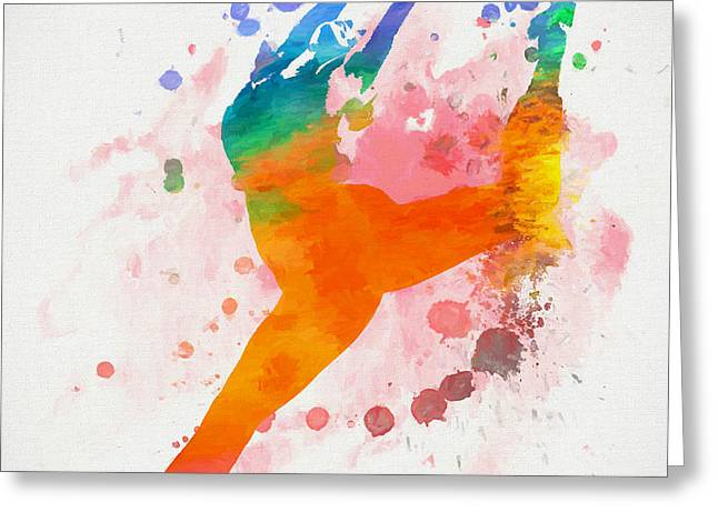 Female Dancer Paint Splatter Greeting Card
