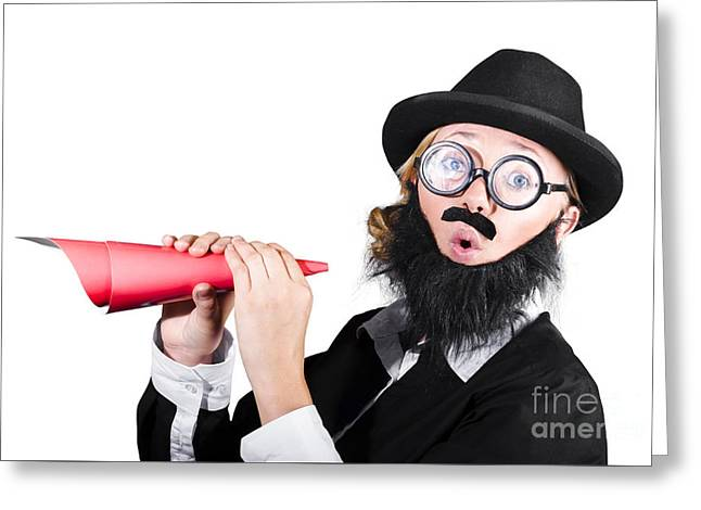Female Dressed As A Man Holding Paper Megaphone Greeting Card