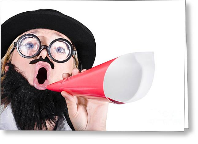 Female Dressed As A Man Shouting Through Megaphone Greeting Card
