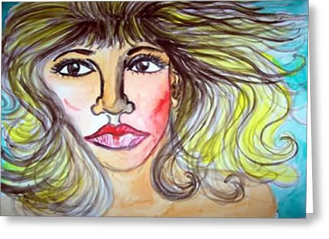 Female Face Greeting Card by Caroline Lifshey