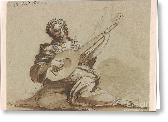 Female Figure With A Lute Greeting Card