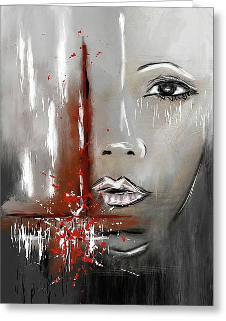 Female Half Face On Grey Abstract Greeting Card