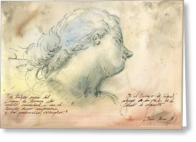 Female Head Study Greeting Card by Juan Bosco
