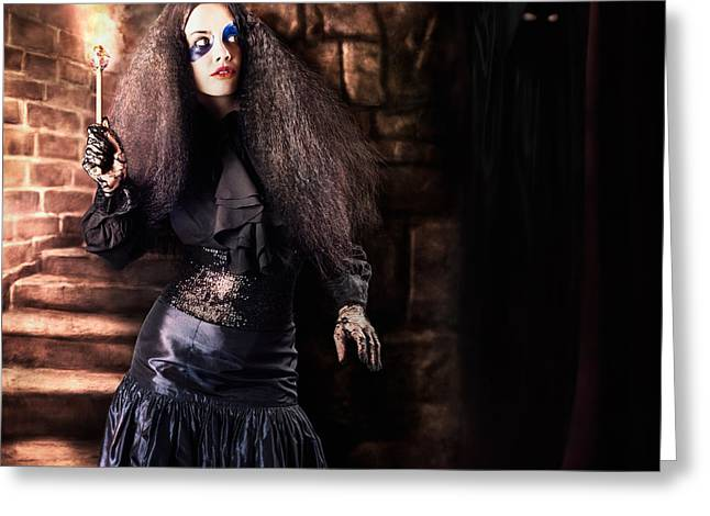 Female Jester Walking Inside Dark Castle Stairwell Greeting Card by Jorgo Photography - Wall Art Gallery