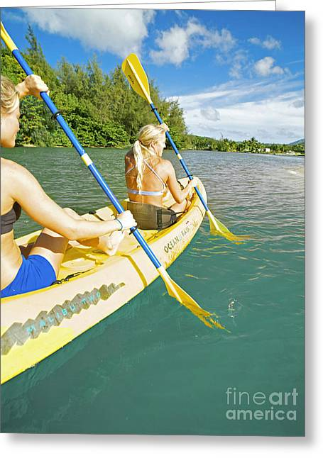 Female Kayakers Greeting Card by Kicka Witte - Printscapes
