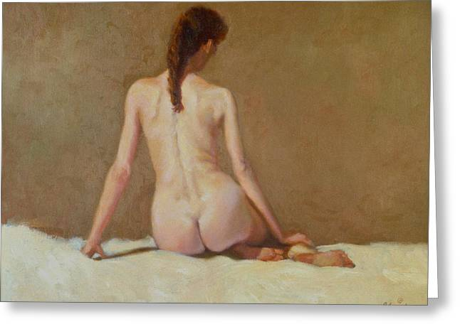 Female Nude   Back View      Greeting Card by David Olander