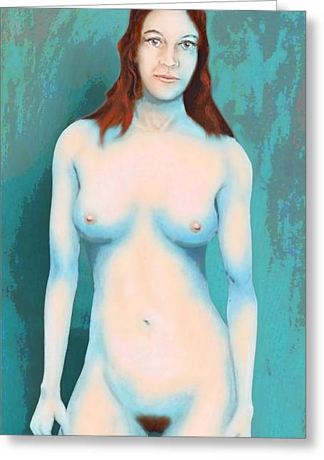 Female Nude Blue With Red Hair Greeting Card