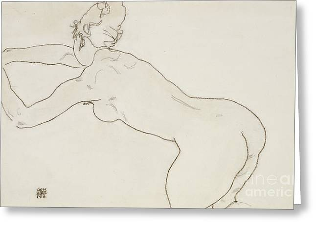 Female Nude Kneeling And Bending Forward To The Left Greeting Card by Egon Schiele