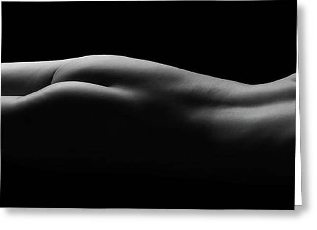 Female Nude Laying Flat With Beautiful Contours In B And W - 3023bw Greeting Card