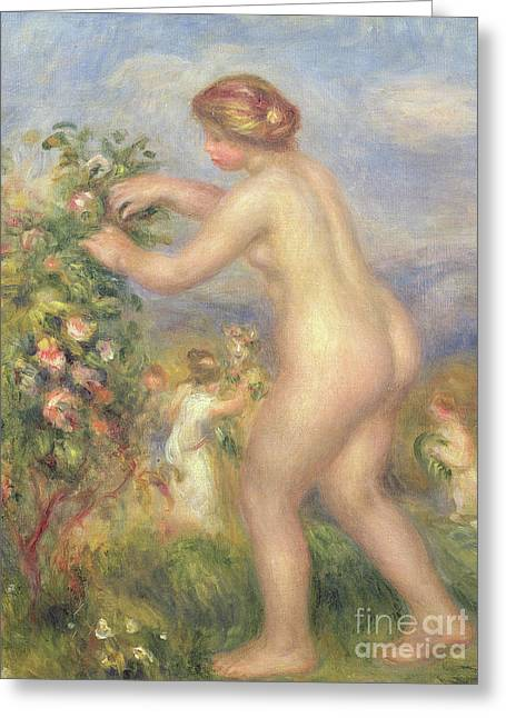 Female Nude Picking Flowers Greeting Card