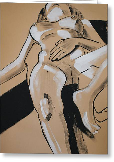 Female Nude Reclining Greeting Card by Joanne Claxton