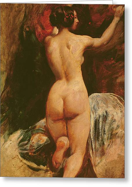 Female Nude Seen From The Back Greeting Card by William Etty
