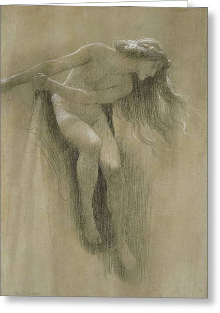 Figure Study Pastels Greeting Cards - Female Nude Study  Greeting Card by John Robert Dicksee