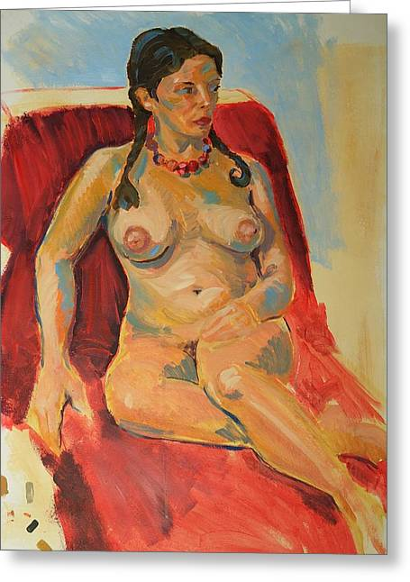 Female Nude With Brown Hair Plaited Wearing A Red Necklace Greeting Card by Mike Jory